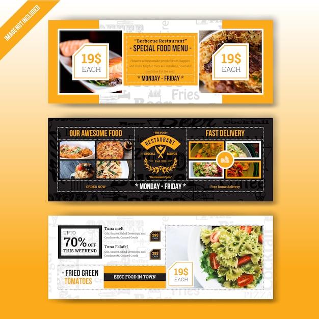Restaurantvoedsel menu webbanner sjabloon Premium Vector