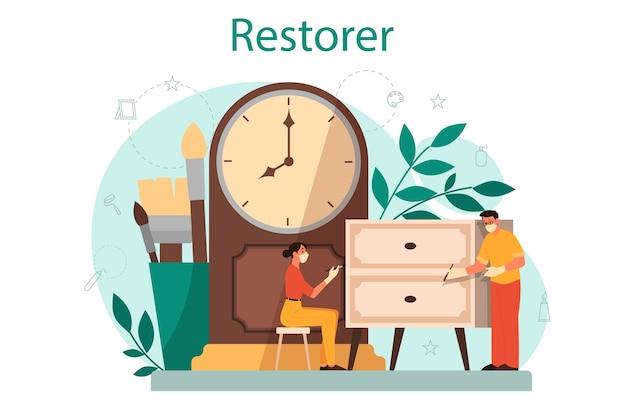 Restaurateur concept. kunstenaar restaureert een oud standbeeld, oude schilderijen en meubels. persoon repareert zorgvuldig oud kunstvoorwerp. Premium Vector