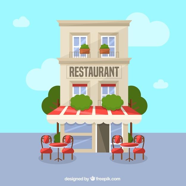 Resturant gebouw achtergrond Gratis Vector