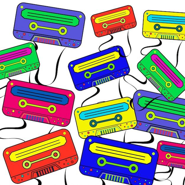 Retro 80's achtergrondbehang met kleurrijke boombox. Premium Vector