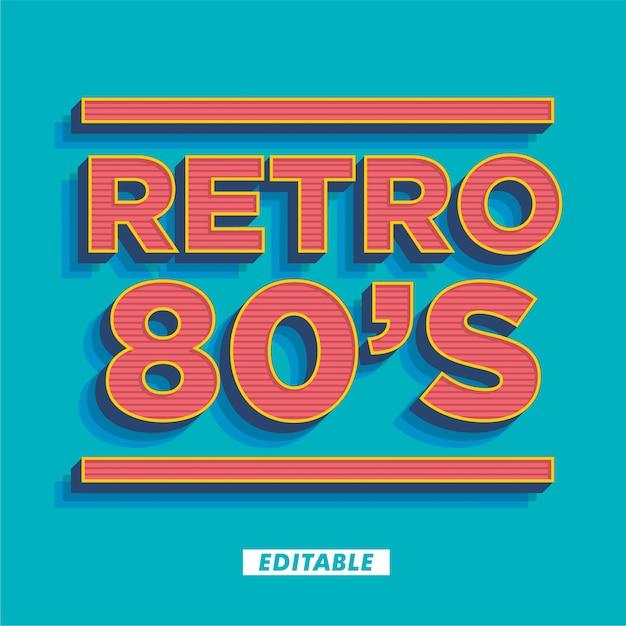 Retro 80's tekststijleffect Premium Vector