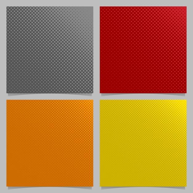 Retro abstracte halftone dot patroon achtergrond set - vierkante brochure grafische ontwerpen uit cirkels in verschillende maten Premium Vector