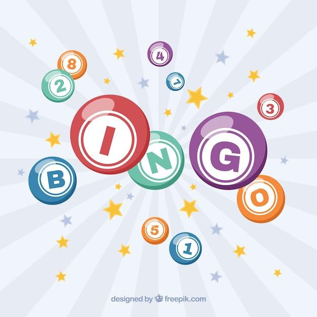 Retro achtergrond van sterren en bingo ballen Gratis Vector