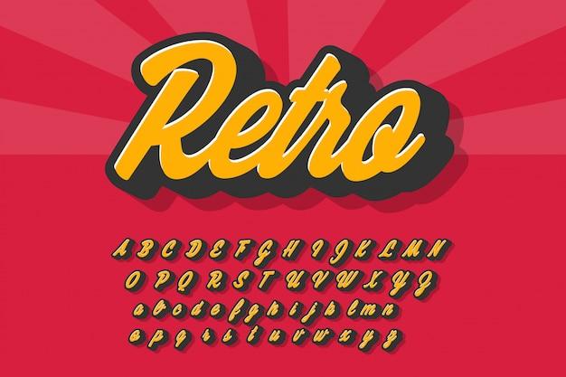 Retro alfabet met schaduw Premium Vector