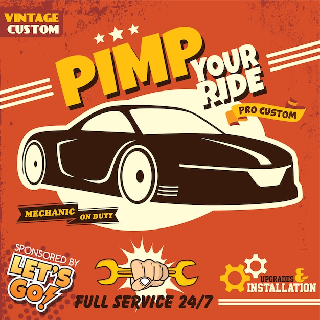 Retro auto dienst poster thema vector kunst illustratie