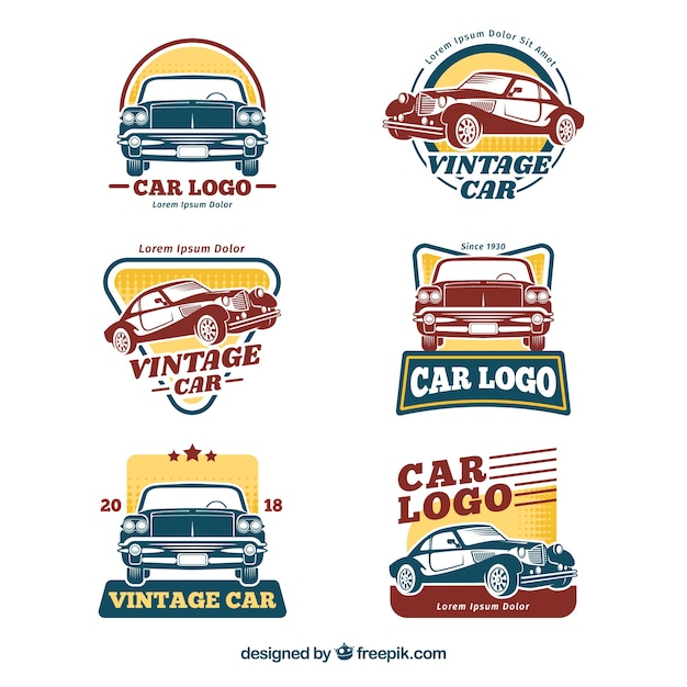 Retro auto logo set Premium Vector