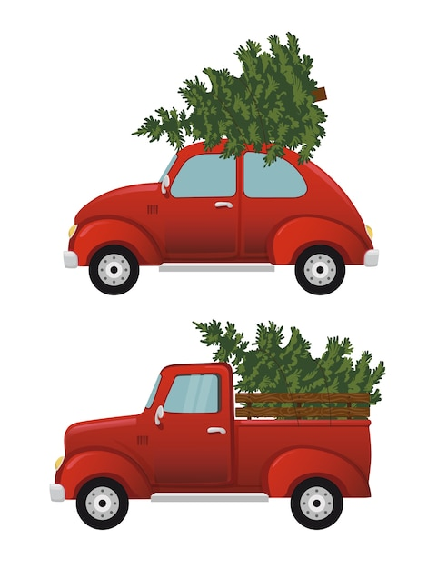 Retro auto met kerstboom. vintage d Premium Vector