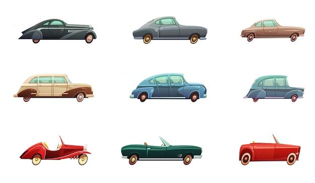 Retro auto set van klassieke sport en converteerbare zijaanzicht modellen van het midden van de twintigste eeuw isola Gratis Vector