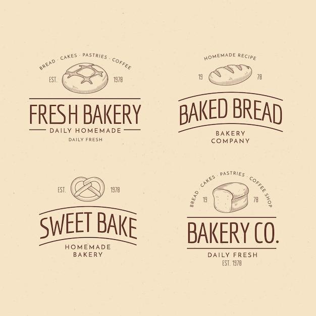 Retro bakkerij logo-collectie Gratis Vector