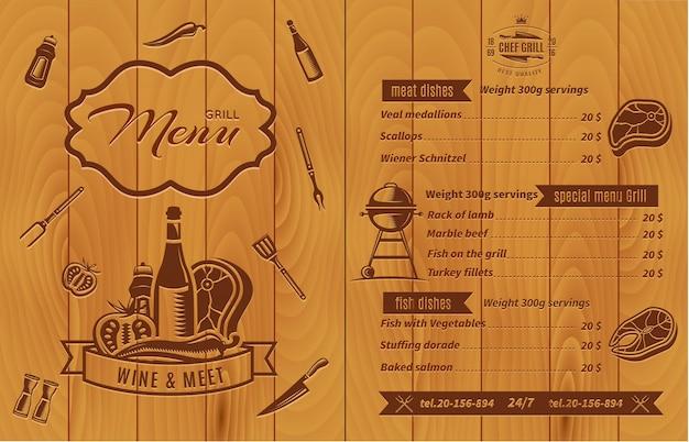 Retro bbq-menu met prijzen en eten met foto's op houten muur Gratis Vector