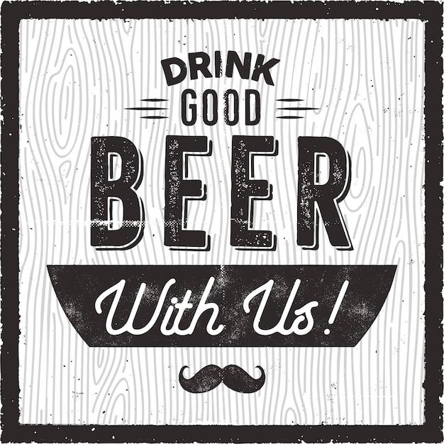 Retro bier illustratie Premium Vector