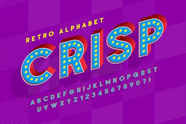 Retro bioscoop lettertype ontwerp, cabaret, led-lampen letters Premium Vector