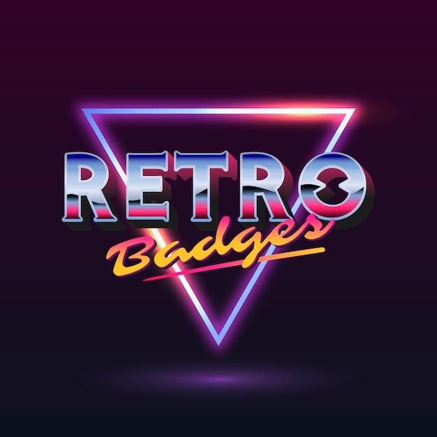 Retro bord met neon driehoek Gratis Vector