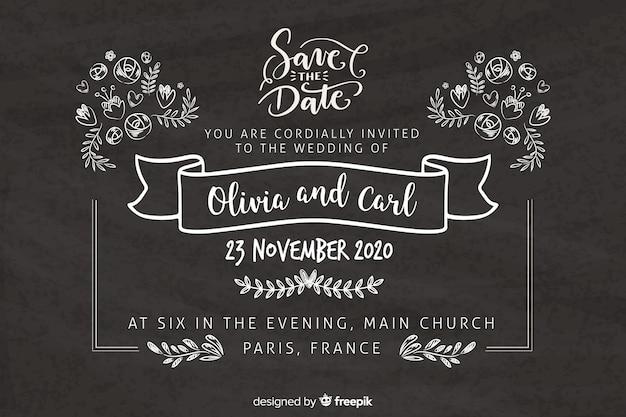 Retro bruiloft uitnodiging sjabloon op blackboard Gratis Vector