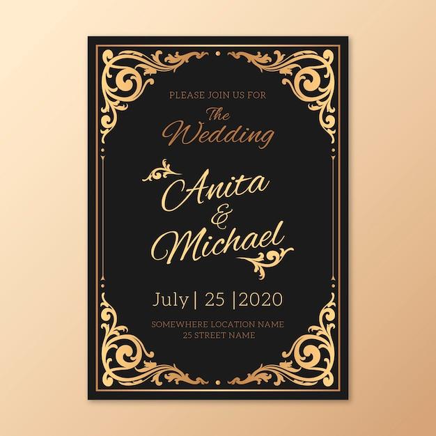 Retro bruiloft uitnodiging sjabloon Gratis Vector