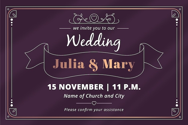 Retro bruiloft uitnodiging Gratis Vector