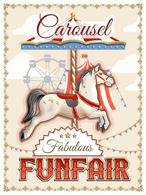 Retro carrousel poster Gratis Vector