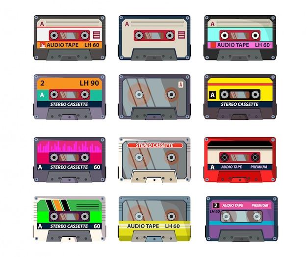 Retro cassettes ingesteld Gratis Vector