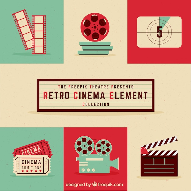 Retro cinema element collectie Gratis Vector