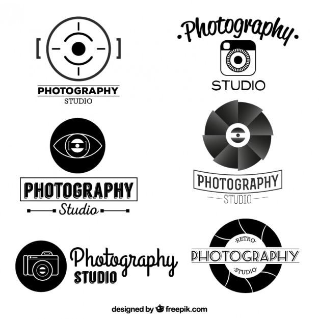 Retro collectie van fotografie logo vector gratis download for Camera blueprint maker gratuito