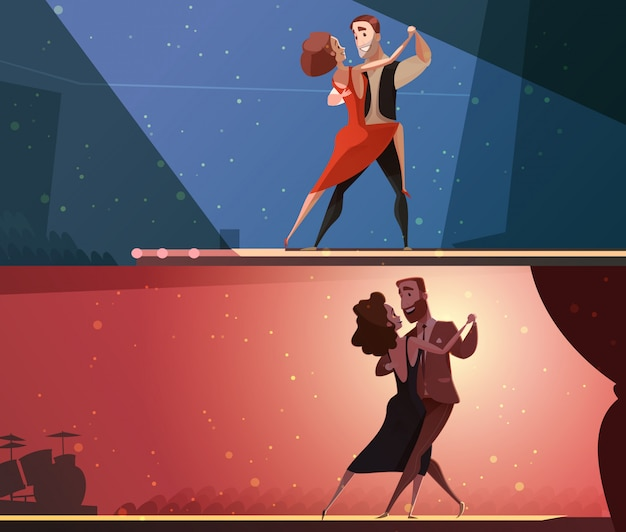 Retro dansstudio 2 horizontale die beeldverhaalbanners met tango en salsa worden geplaatst die paren uitvoeren Gratis Vector