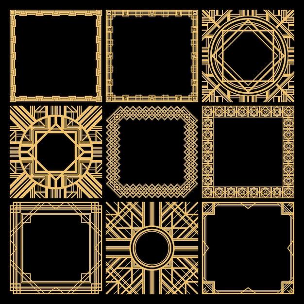 Retro decoratieve lege frames-collectie met klassieke elegante geometrische traceringen in vintage stijl geïsoleerd Gratis Vector