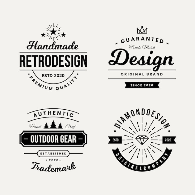 Retro design voor logo collectie Gratis Vector