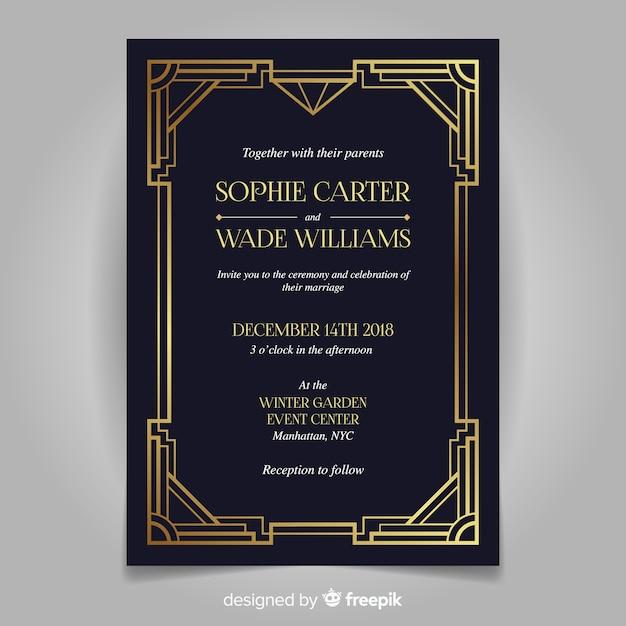 Retro donkere bruiloft uitnodiging sjabloon in art decostijl Gratis Vector