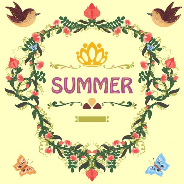 Retro doodle floral frame met zoete erwt en bloemen Gratis Vector