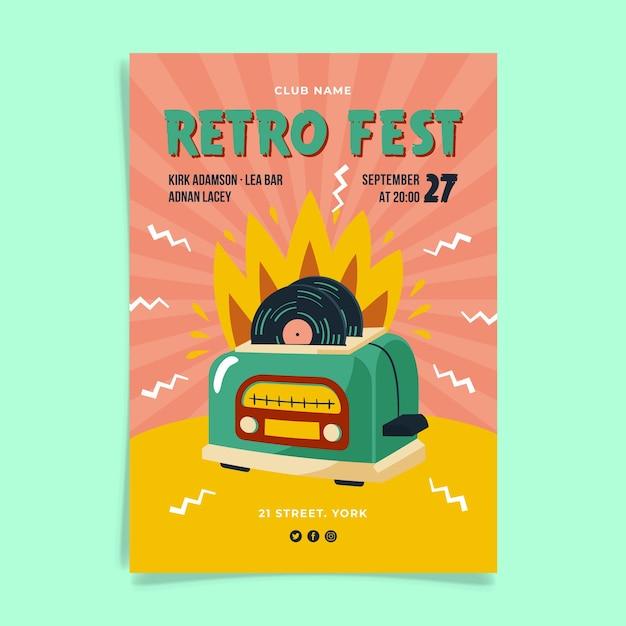 Retro fest posterontwerp Gratis Vector