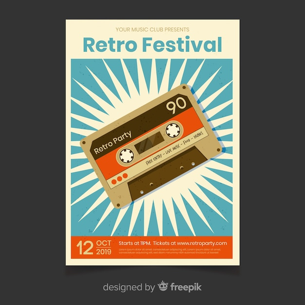 Retro festival muziek poster sjabloon Gratis Vector