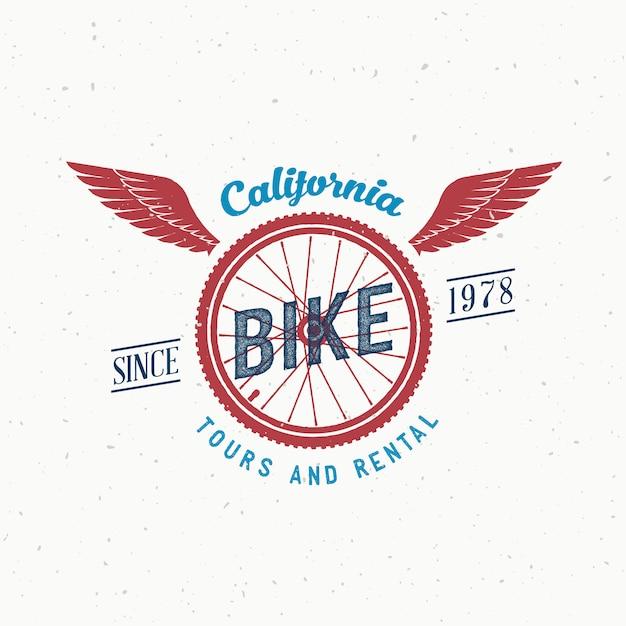 Retro fietstochten en verhuurlabel of logo-ontwerp Premium Vector