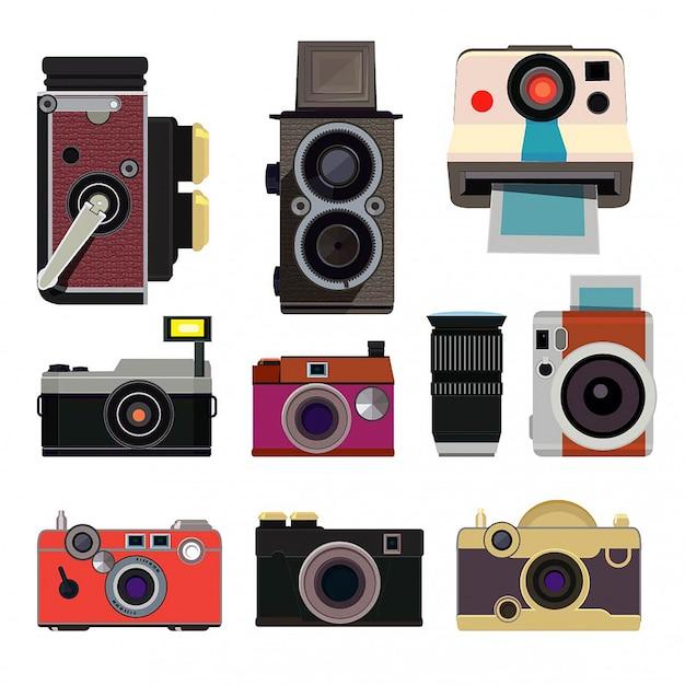 Retro fotocamera's in cartoonstijl isoleren Premium Vector