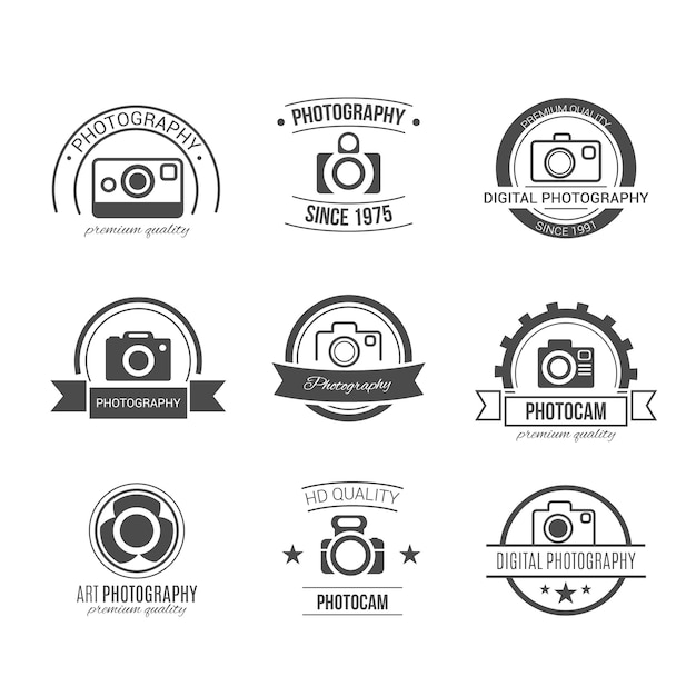 Retro fotografie badges Gratis Vector