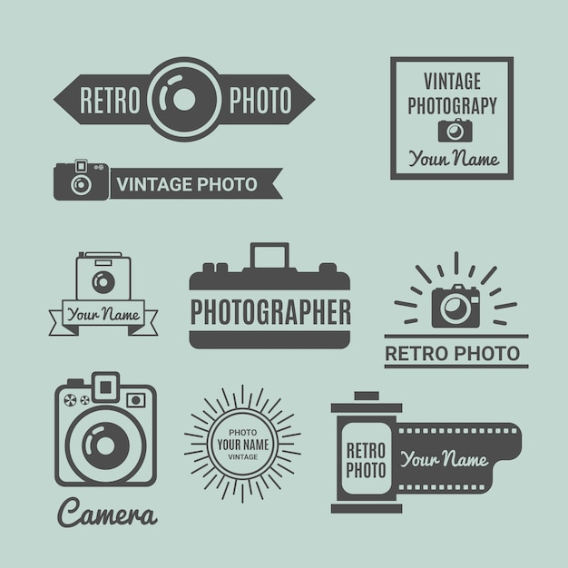 Retro fotografie logo pack Gratis Vector