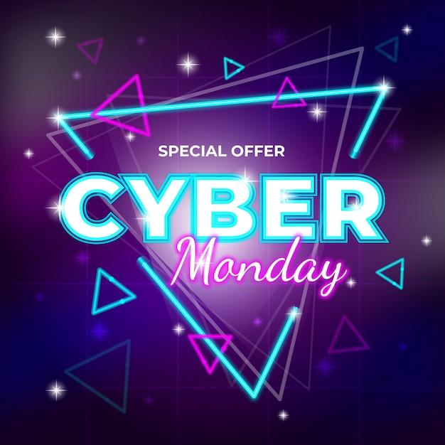 Retro futuristische cyber maandag speciale aanbieding banner Gratis Vector