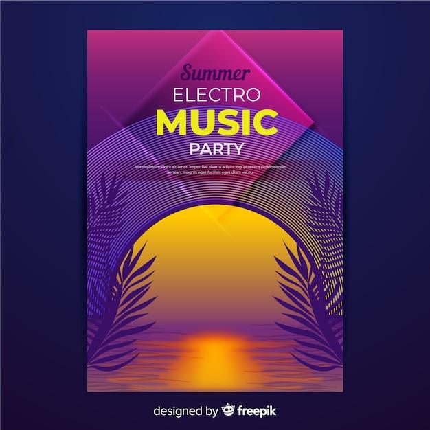Retro futuristische muziek poster sjabloon Gratis Vector