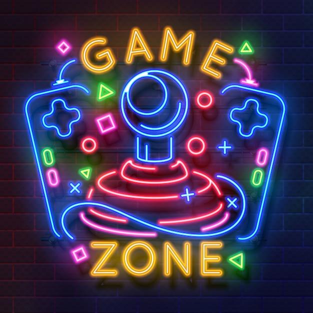 Retro game neon teken. videogames nachtlampje symbool, gloeiende gamer poster. Premium Vector