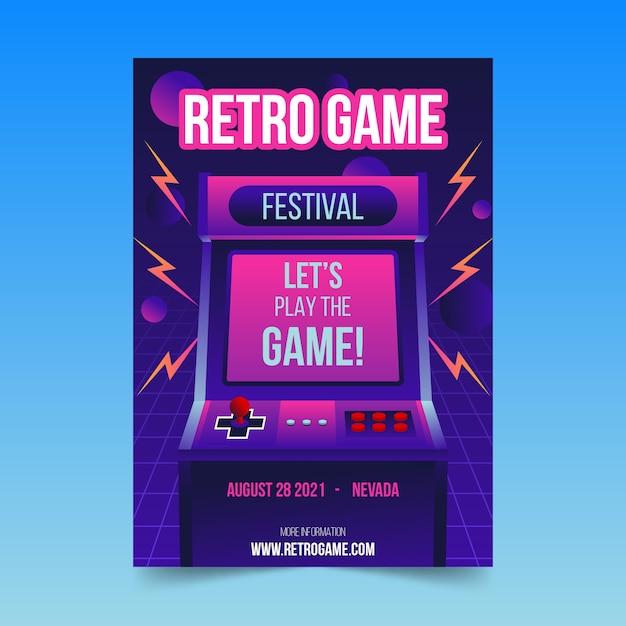 Retro gaming poster sjabloon met illustraties Gratis Vector