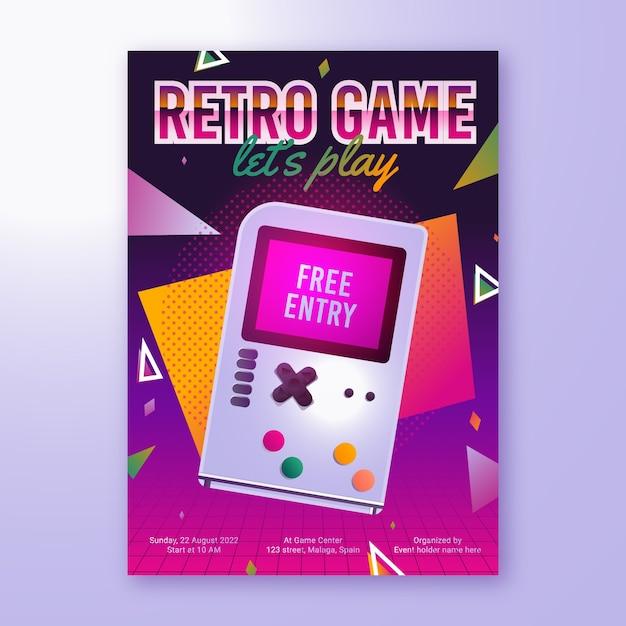 Retro gaming poster sjabloon Premium Vector
