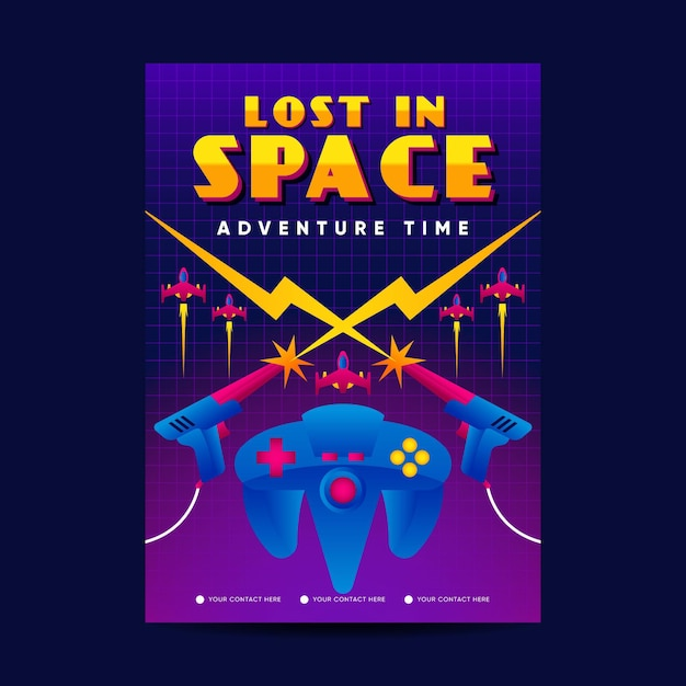 Retro gaming poster sjabloon Premium Vector