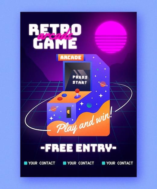 Retro gaming poster sjabloon Gratis Vector