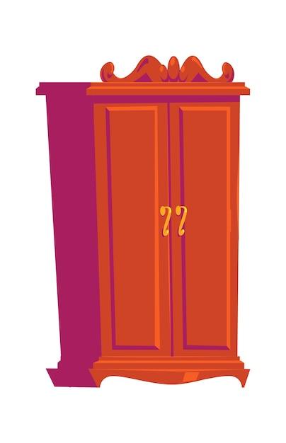 Retro garderobe, houten meubels, interieurelement cartoon afbeelding Gratis Vector