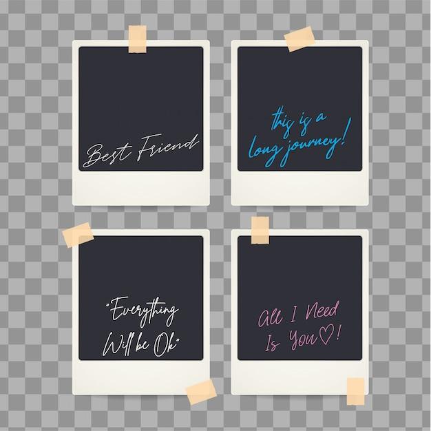 Retro geïsoleerde lege onmiddellijke polaroid met citaten Premium Vector