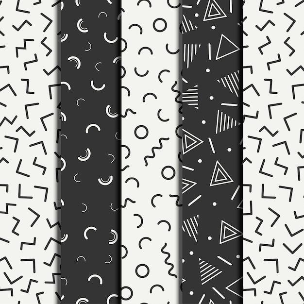 Retro geometrische lijn van memphis vormt naadloze patronenreeks. Premium Vector