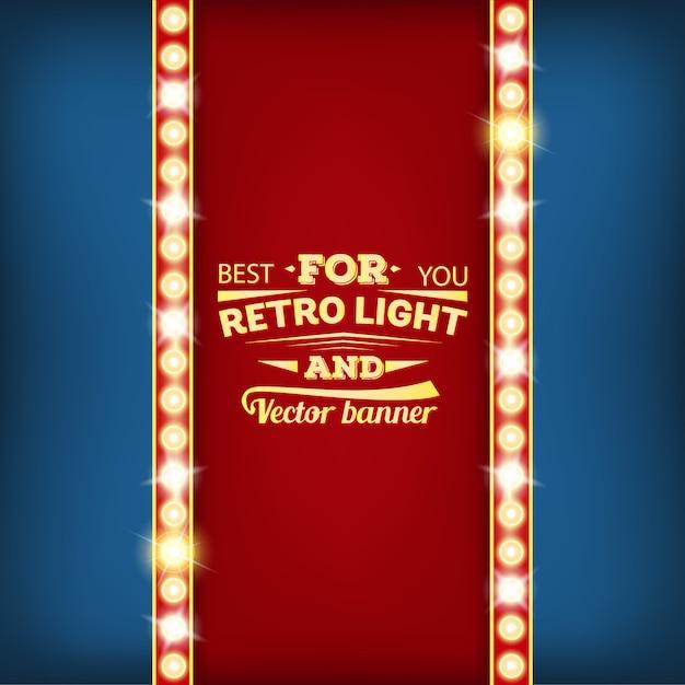 Retro gloeilamp toespraak bubble banner. Premium Vector