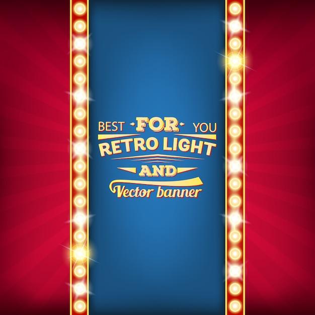 Retro gloeilamp vector toespraak bubble banner. Premium Vector