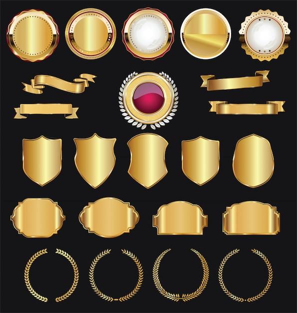 Retro gouden linten labels en schilden vector-collectie Premium Vector