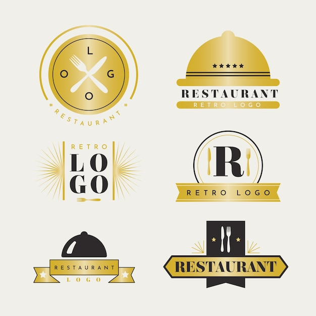 Retro gouden restaurant logo-collectie Gratis Vector