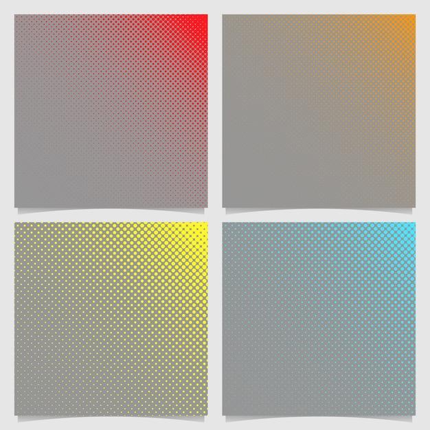 Retro halftone dot patroon achtergrond set - vierkant vector brochure grafische ontwerpen uit cirkels Premium Vector